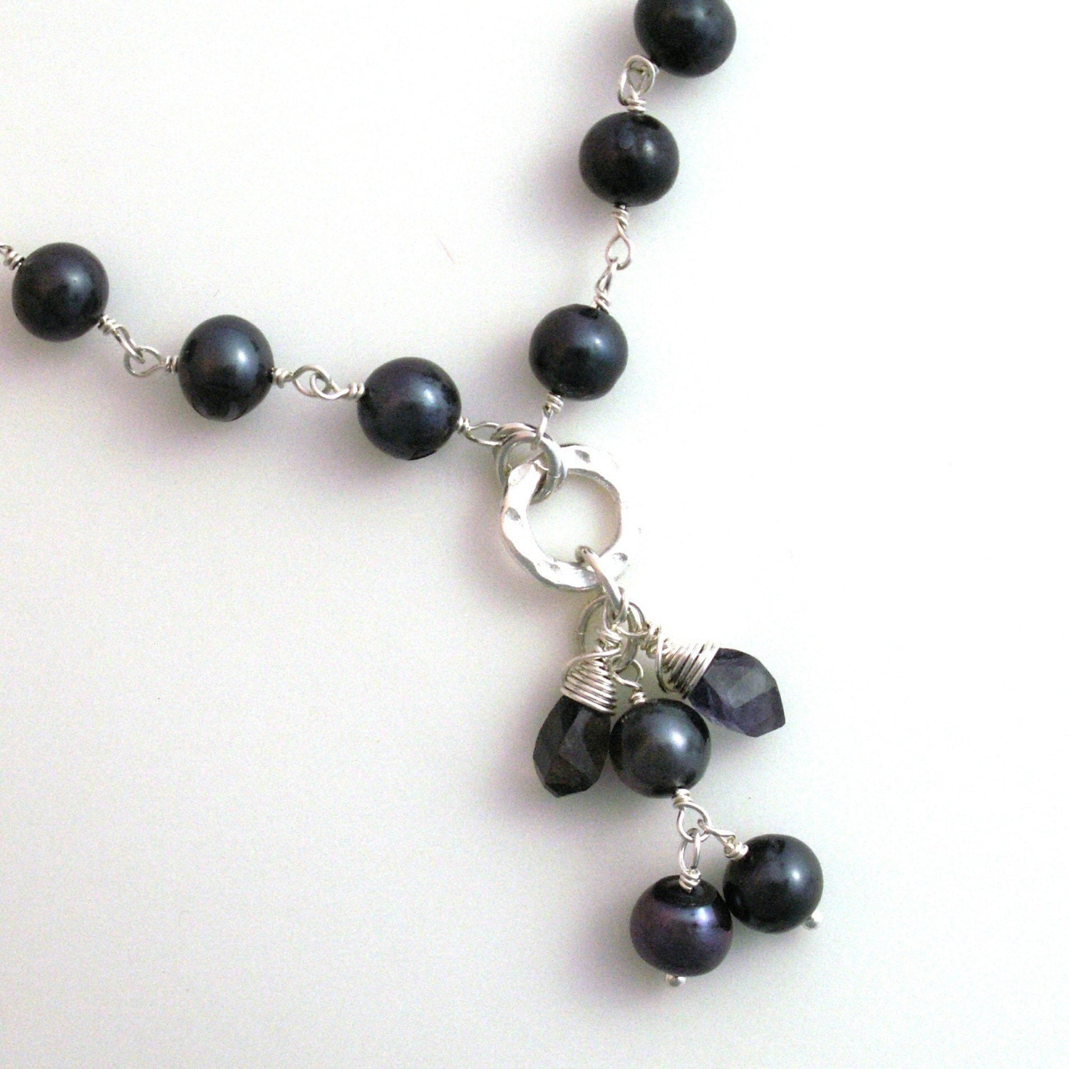 necklace handcrafted jewelry sterling silver dark blue pearls iolite