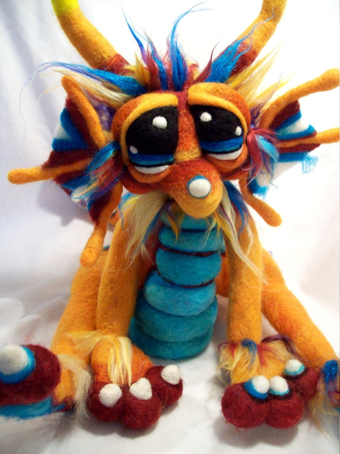 OOAK Custom Commissioned Copper Moon Dragon Needle Felt Soft Sculpture Wool Art doll Plush for Jessfox