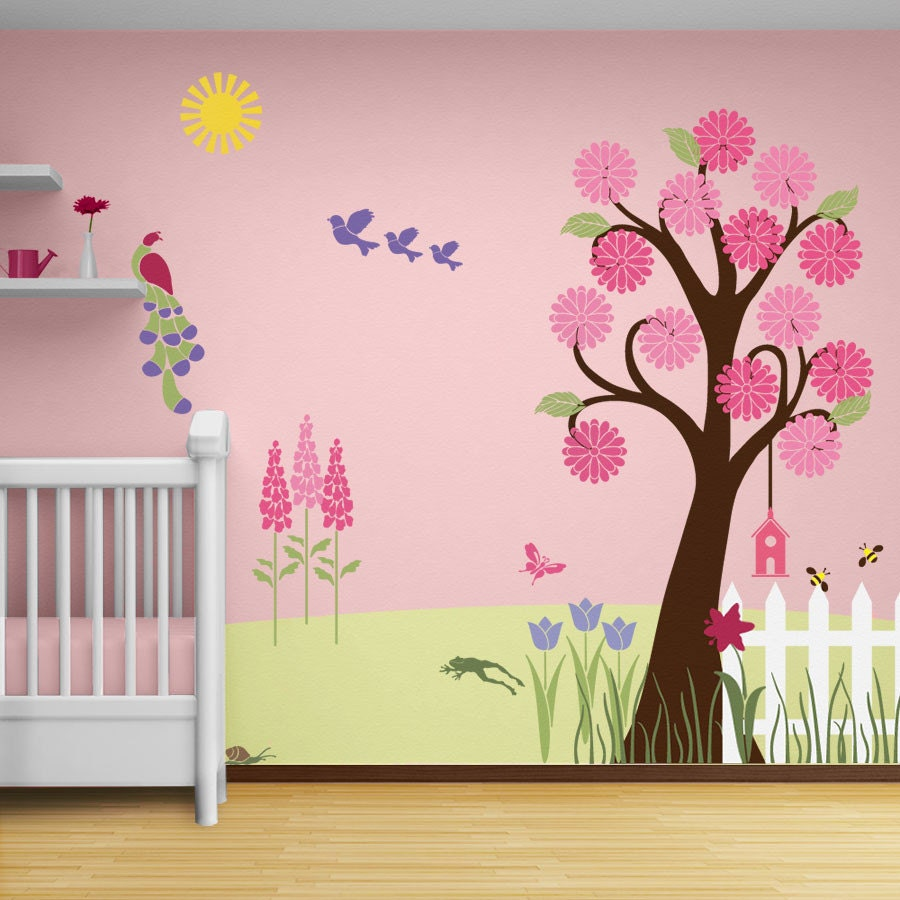 flower garden wall mural stencil kit baby or by mywallstencils. Black Bedroom Furniture Sets. Home Design Ideas