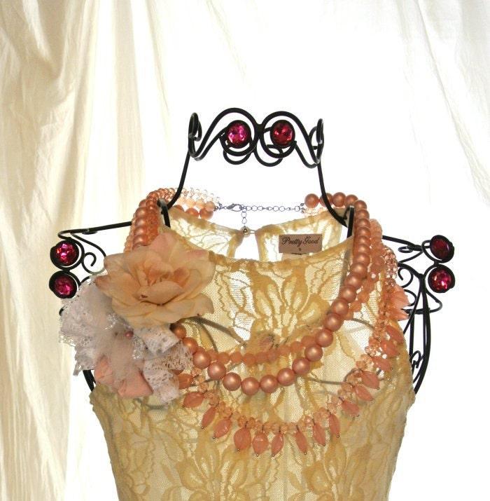 Свадебный заявление ожерелье Страна потертый шик коттедж шикарный стиль Дом из бисера ожерелье Биб Парижа ювелирные английский выросли