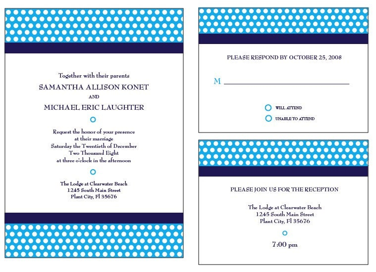 polka dot upside wedding invitation set (sample)