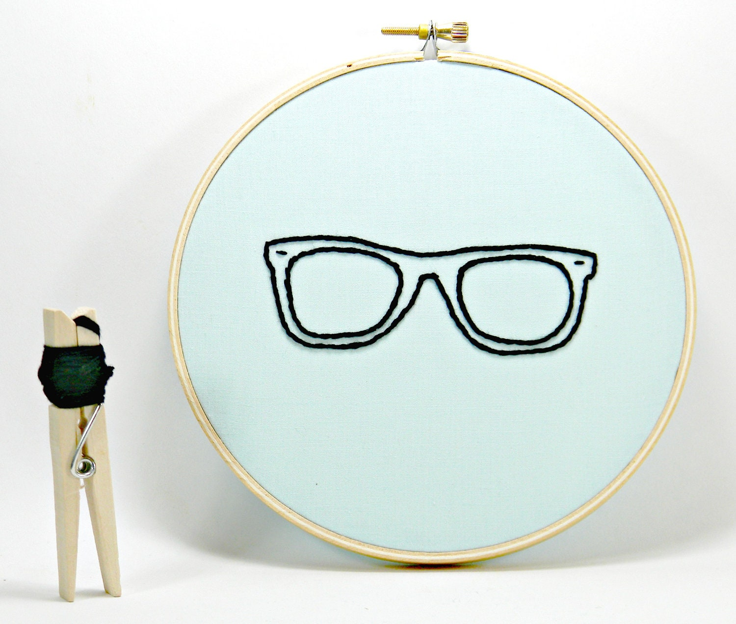 Nerdy Glasses Embroidery Hoop Art. Hand Embroidered.