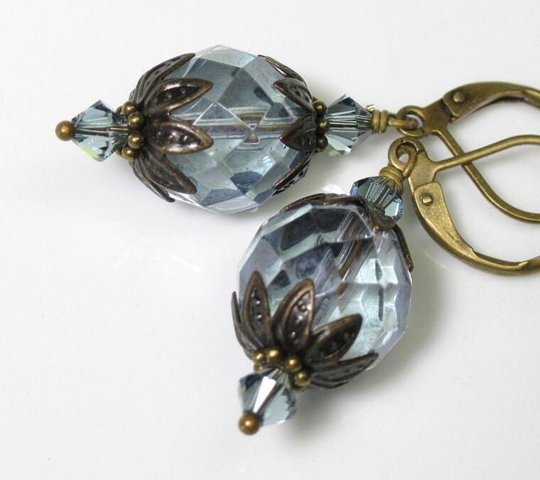 Vintage Style Light Sapphire Luster Czech Glass Earrings