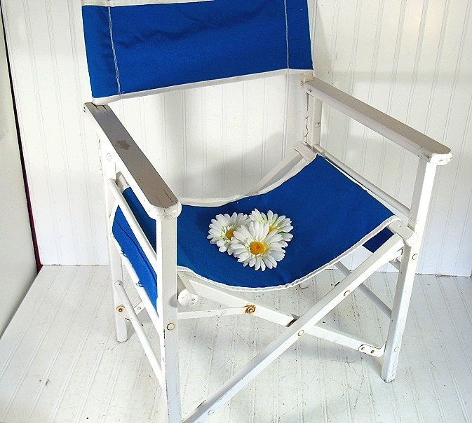 Vintage Wood & Canvas Director Chair - Chippy White Paint Folding Furniture Frame - Royal Blue Fabric Pattern - Ready to Repurpose / Upcycle - DivineOrders