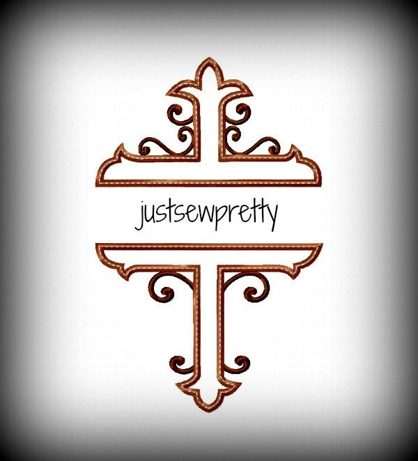 Monogram cross embroidery applique design by justsewpretty