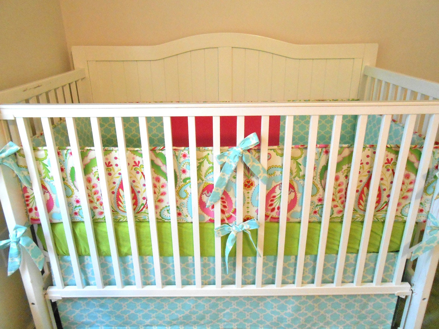 Crib Bedding Set Pink Aqua