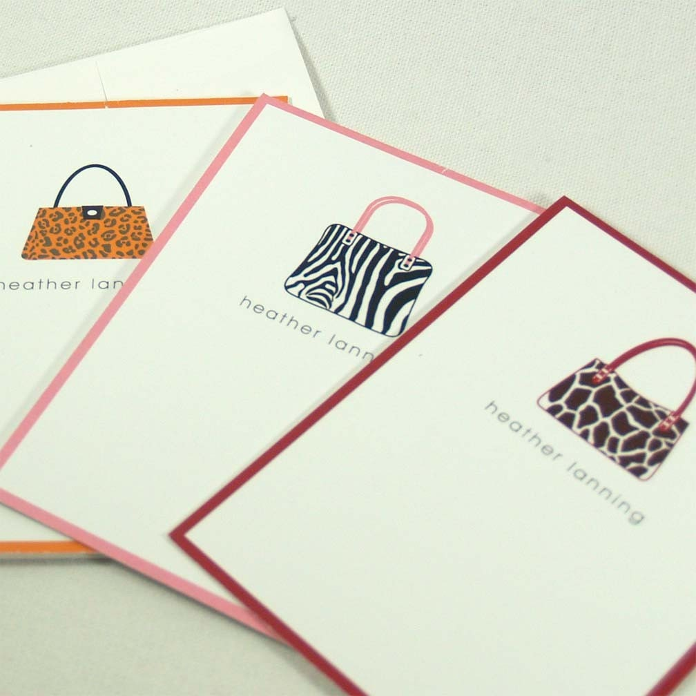 personalized stationery set note cards -animal print purses (9)