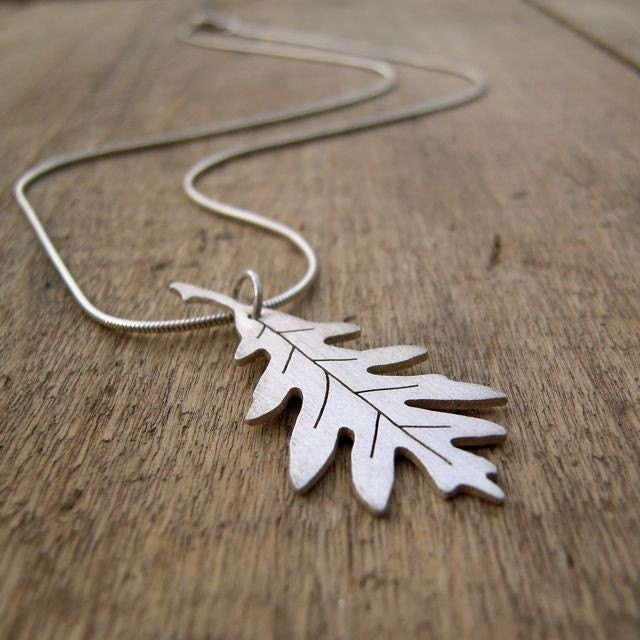 WHITE OAK -hand-cut sterling silver oak leaf pendant with sterling silver snake chain