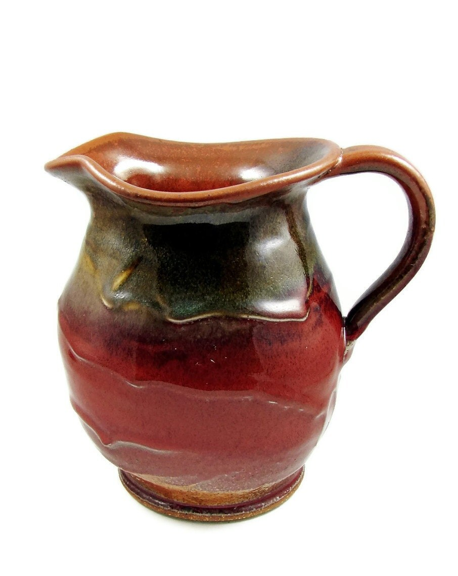 Stoneware Clay Pitcher, Jug - Holds 1 1/2 Quarts - Handmade Ceramic Art Vessel - Wheel Thrown Pottery - Ships Today