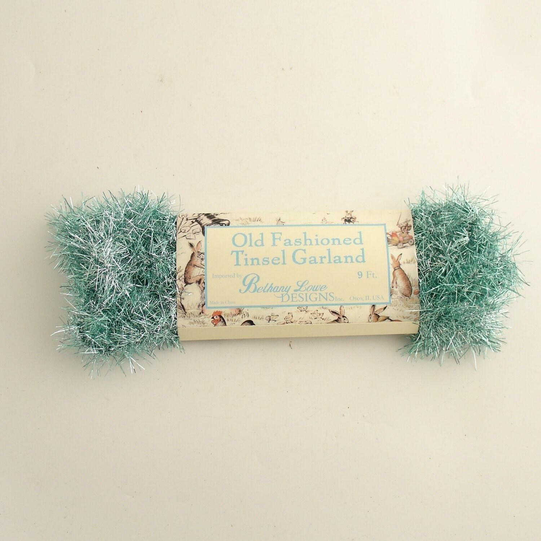 Aqua blue vintage style tinsel garland christmas by efinegifts