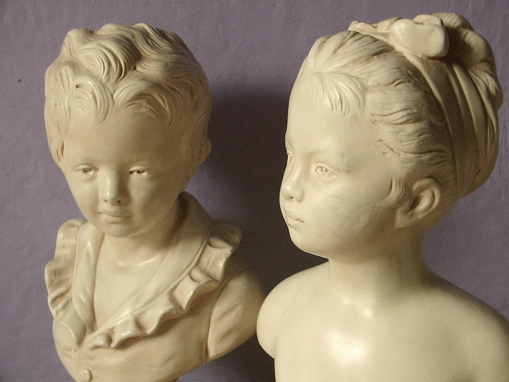 Boy and girl figurines pair shabby chic decor mid century decor