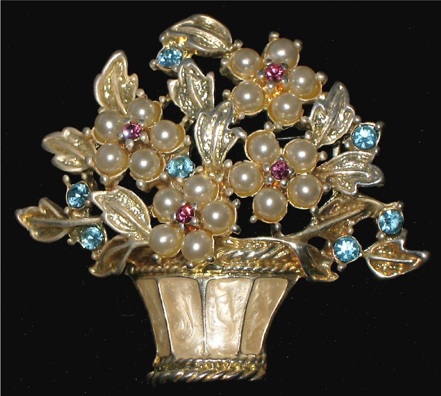 Vintage Brooch with Faux Pearls and Pink and Blue Rhinestones