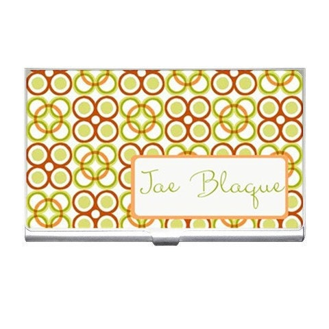 Orange & Green African Inspired Personalized Business Card Case