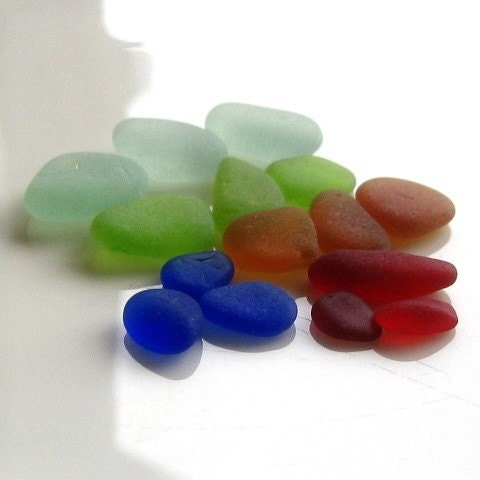 PARADISE  genuine loose frosty sea glass supplies. rare red. cobalt blue. lime green. seafoam