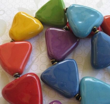 Rainbow Triangle Kazuri Bead Necklzce