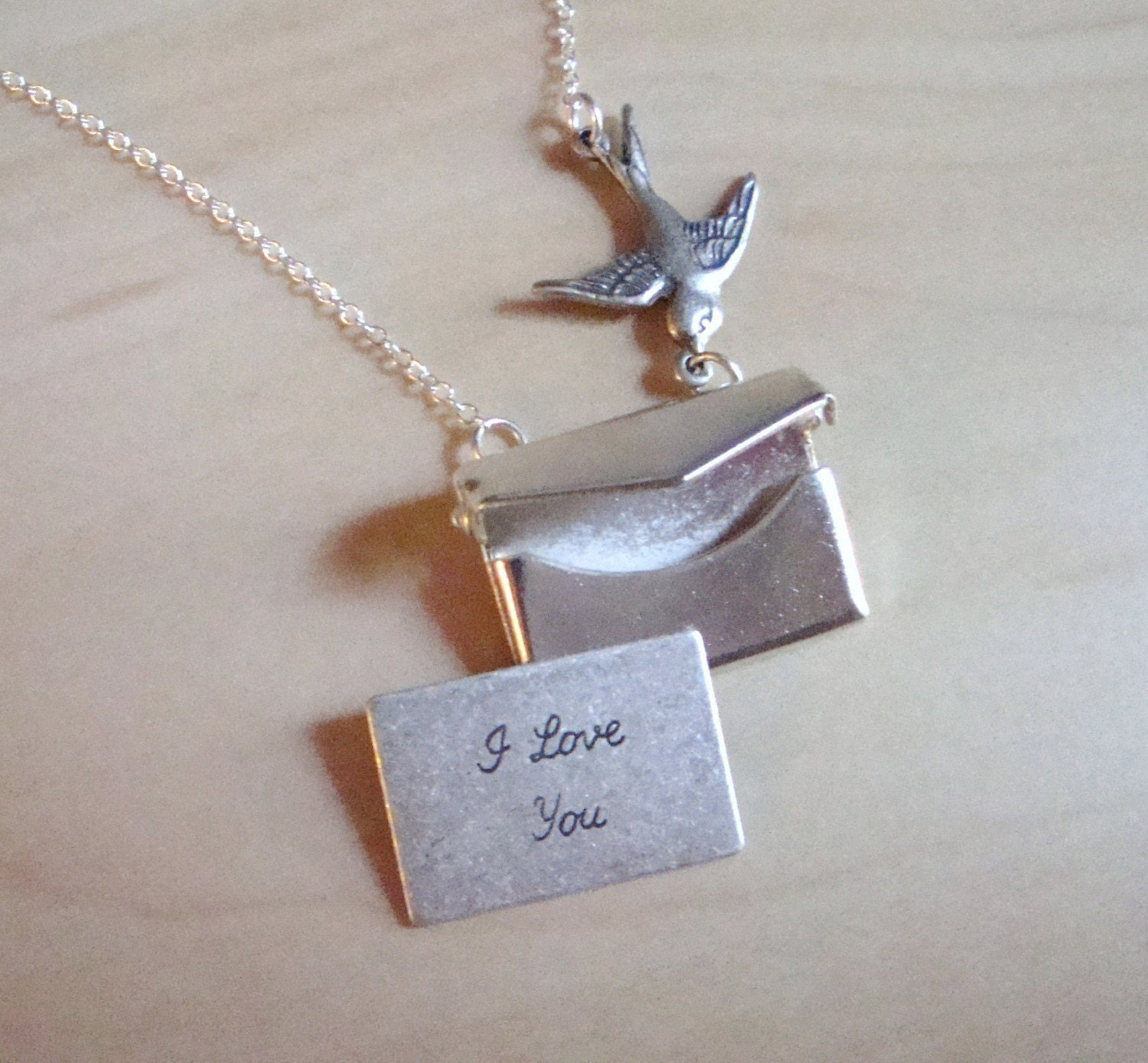 Envelope Necklace with Secret Note. FREE WORLDWIDE SHIPPING.