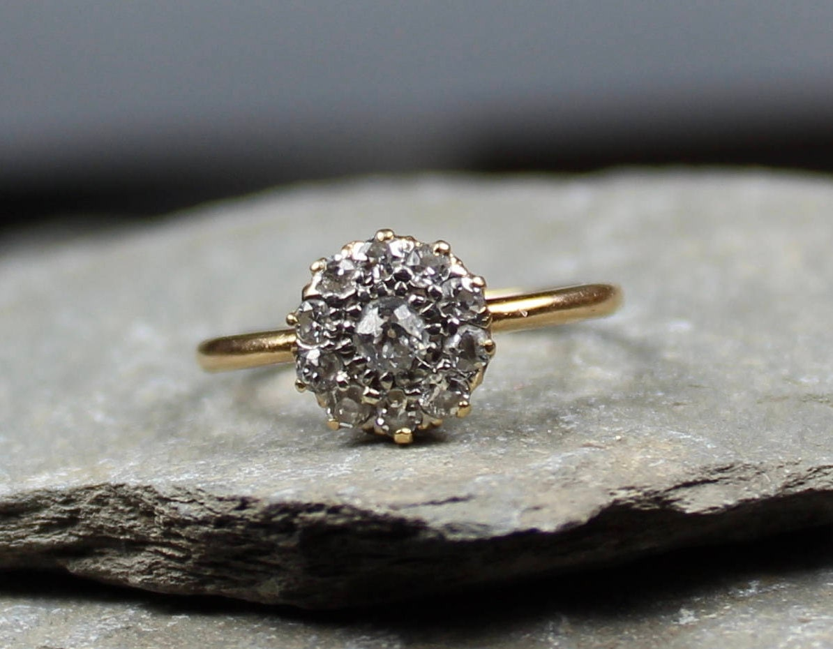 Antique Edwardian 18CT Gold Diamond Daisy Flower Cluster Ring
