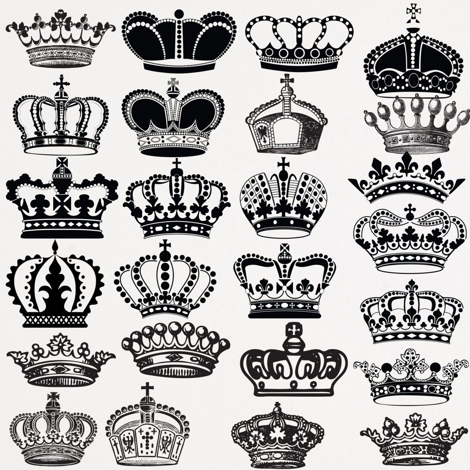 Queen crown black and white