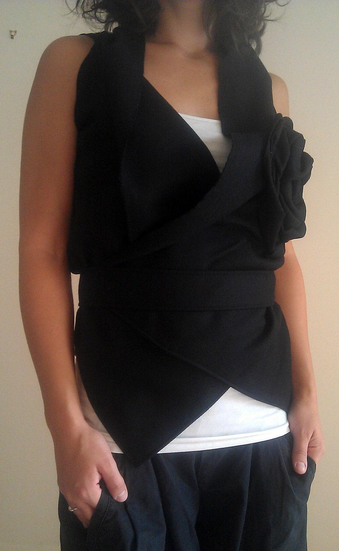 Black Wool Wrap/ Sleeveless Winter Soft Jacket by NervousWardrobe on Etsy