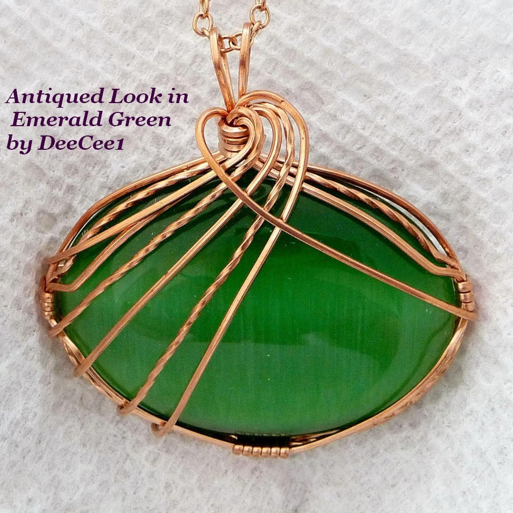 Antiqued  Look in Emerald Green Wire Wrapped Pendant