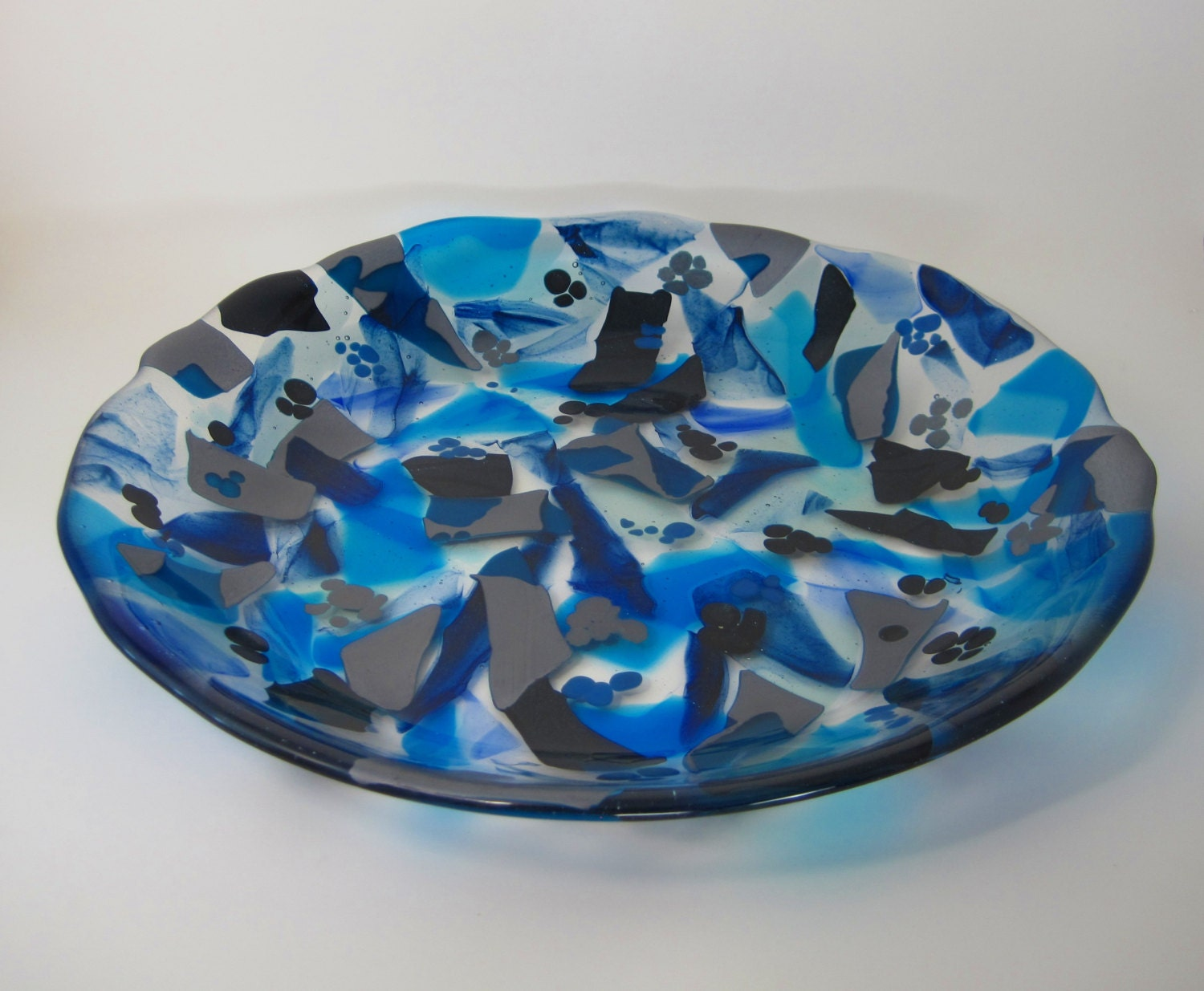 Fused glass large bowl centerpiece by