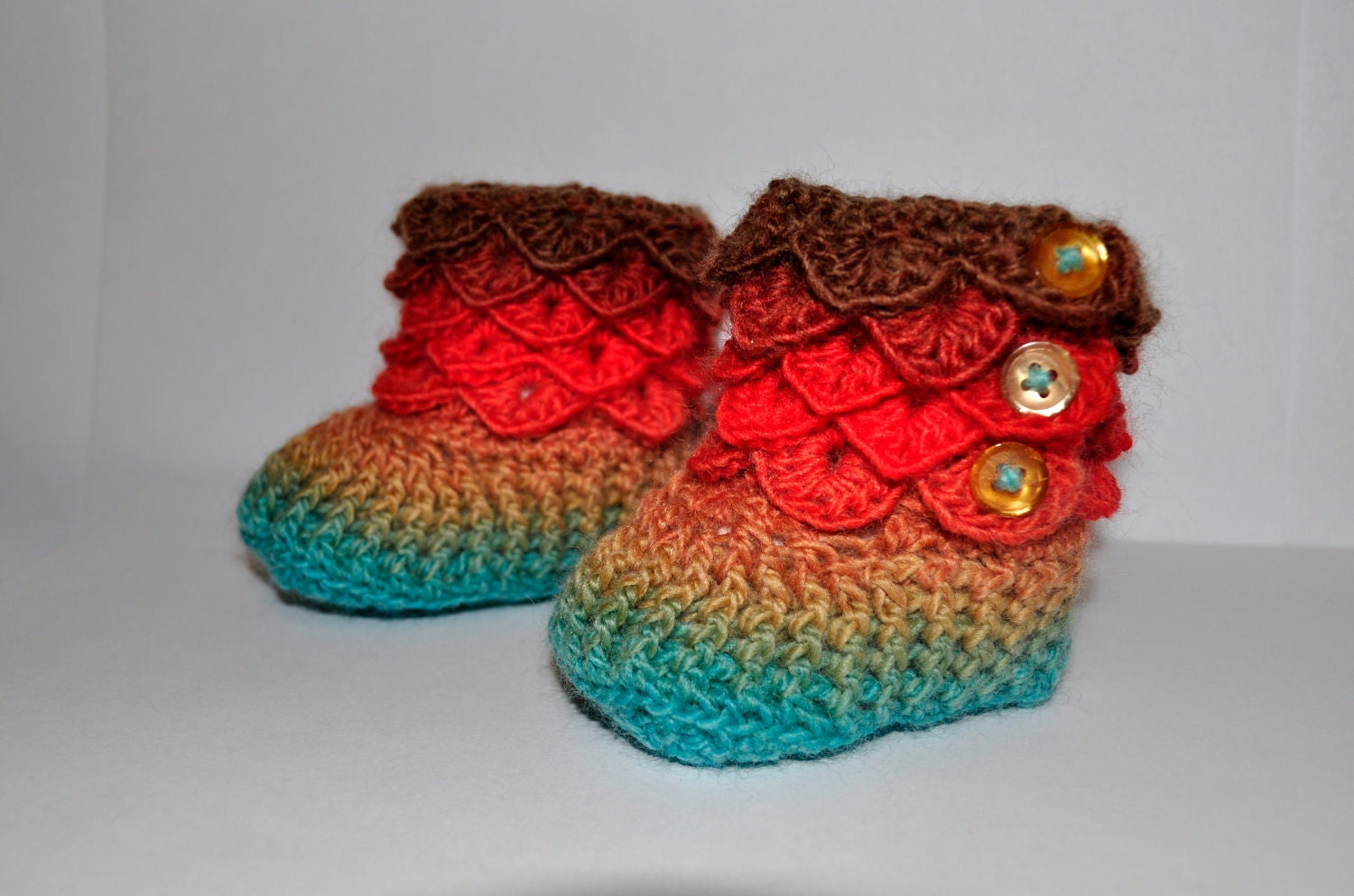 Crochet Pattern For Crocodile Stitch Baby Booties : Free Shipping Crochet Crocodile Stitch Booties by ...