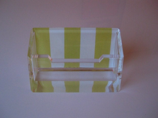 Stripe Lucite Business Card Holder - Yellow/White