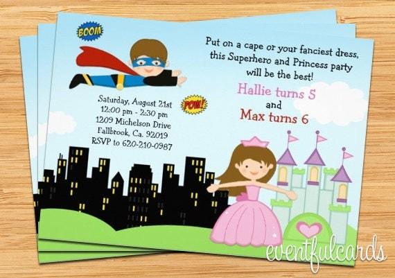 superhero and princess birthday party invitation by