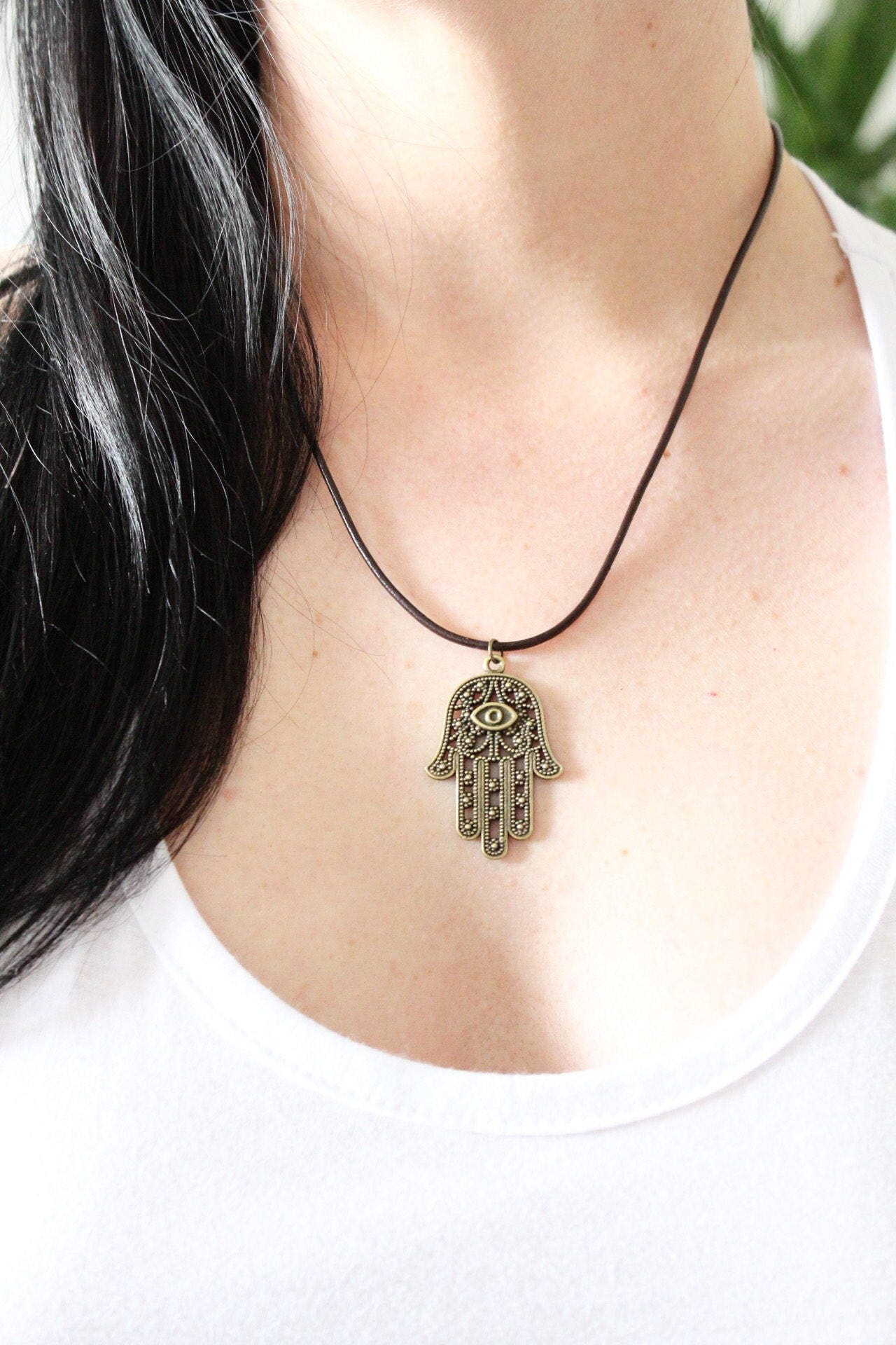 Antique gold Hamsa leather UNISEX necklace  choker  boho jewellery charm necklace leather necklace mens jewelry