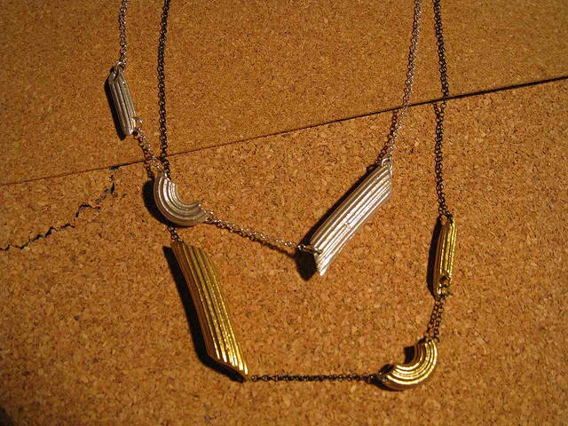 Obscurious Mixed Metallics Penne And Rigati Necklace