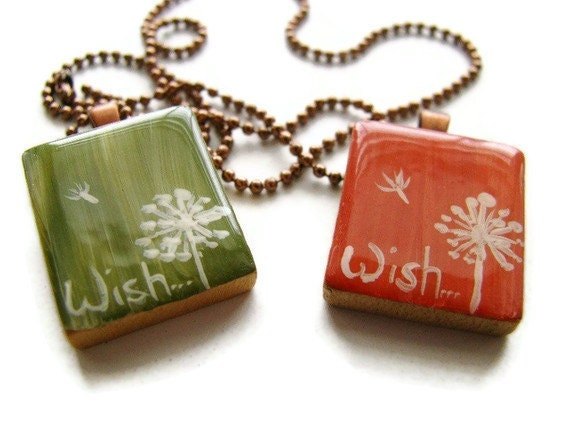 Dandelion Wish Scrabble Tile Necklace Hand Painted in Coral Pink or Olive Green - heversonart