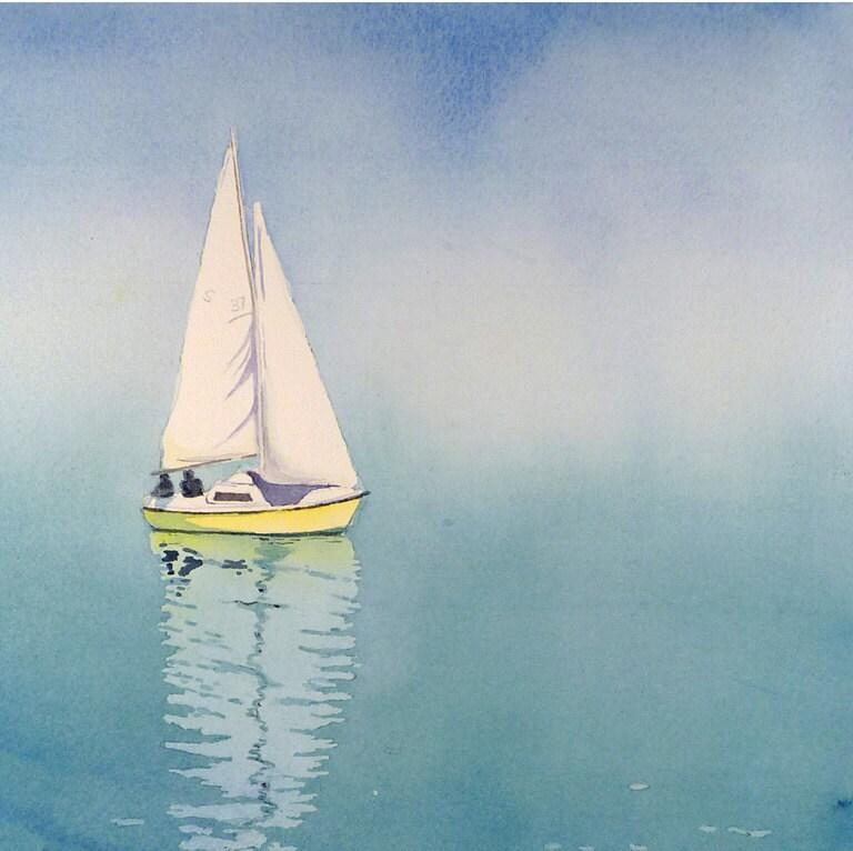 Sail Boat Art Watercolor Painting Print