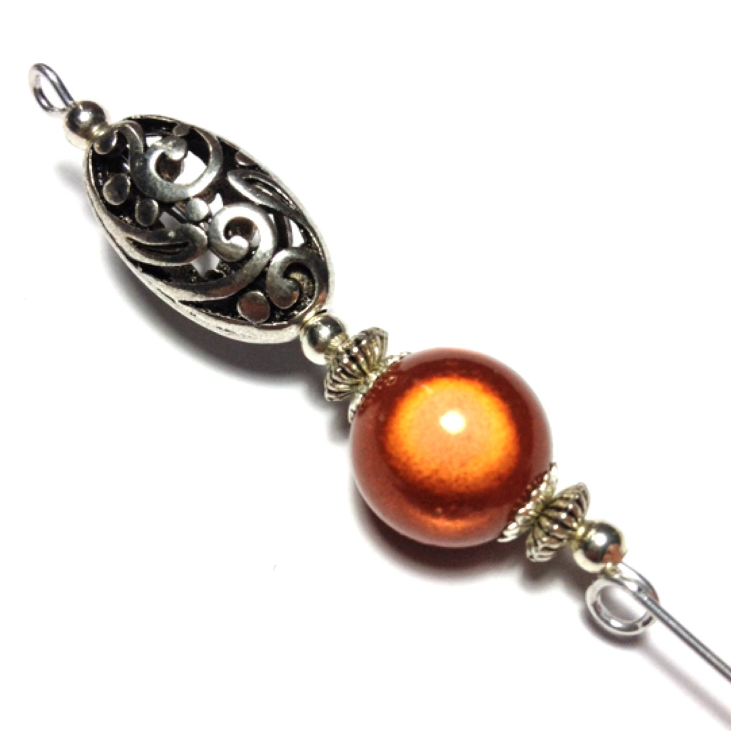 5 Bronze Miracle Bead Hat Pin Vintage Antique Tibetan Silver Style  With Pin Protector (HP433)