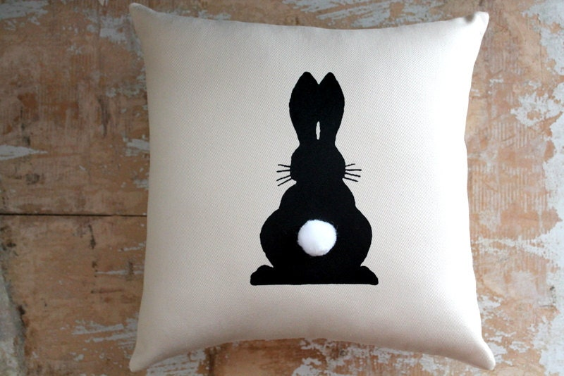 Easter pillow black bunny rabbit bunny by parismarketplace for Rabbit decorations home
