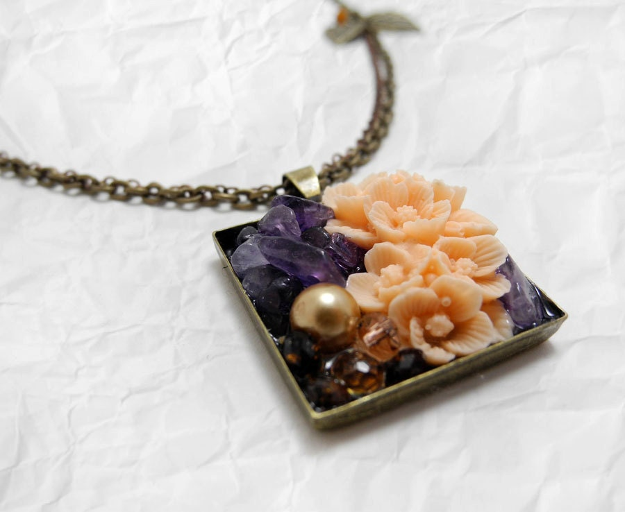 Garden Mosaic Necklace - Amethyst