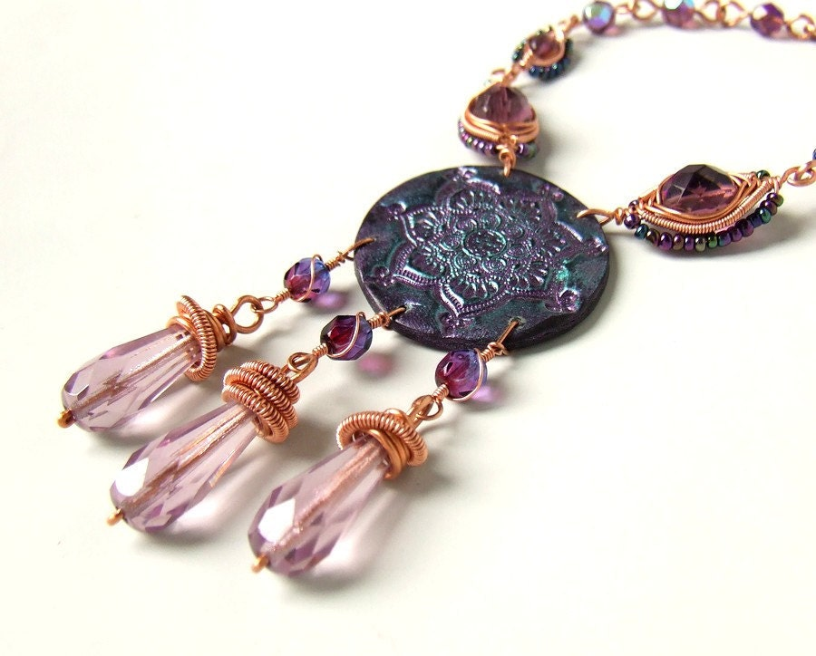 Copper polymer clay necklace purple OOAK wire wrapped indian mandala oriental statement jewelry - VeraNasfa