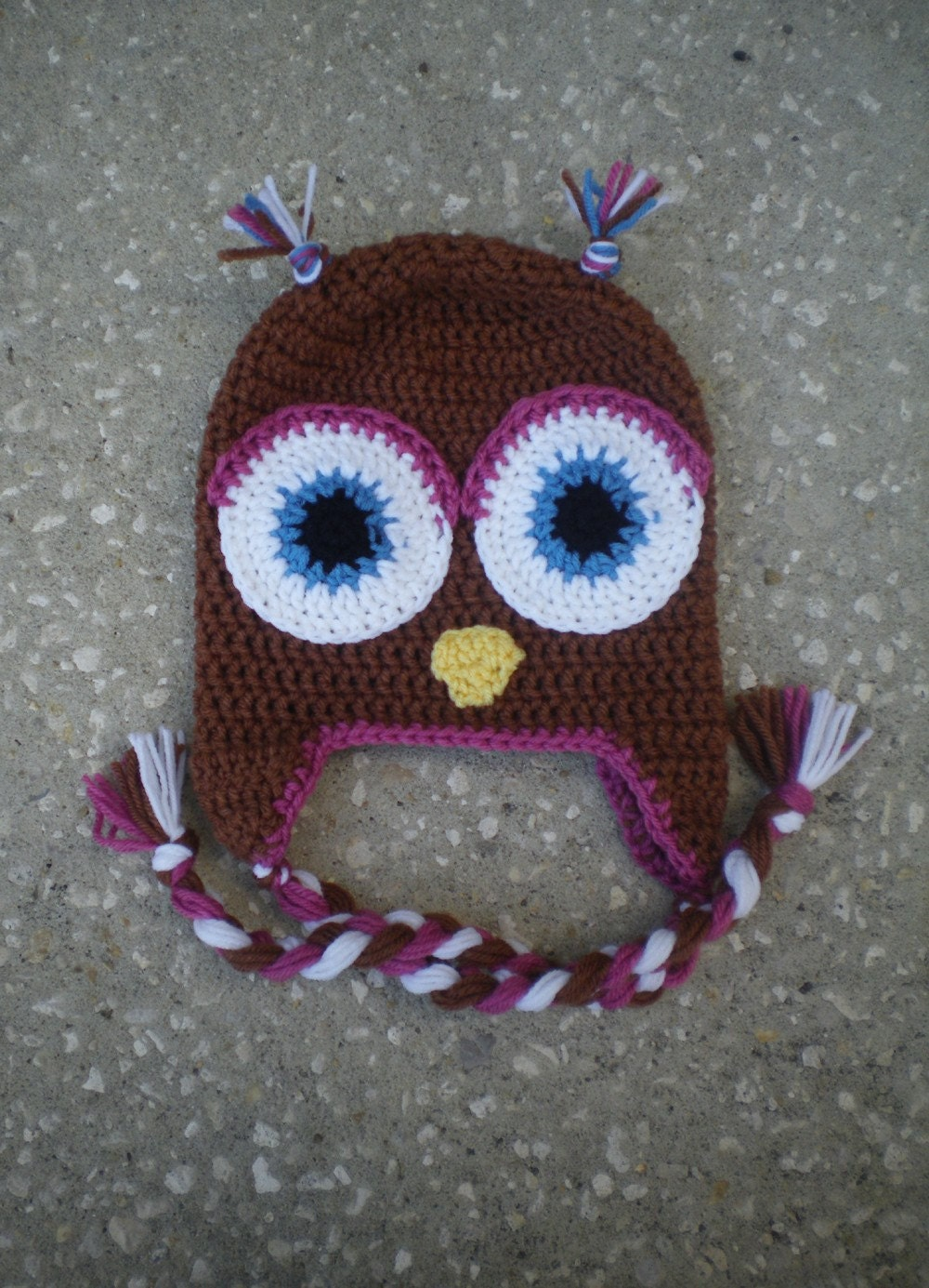 Girls Owl Ear Flap Hat - Toffee with rose trim and blue eyes - All sizes available
