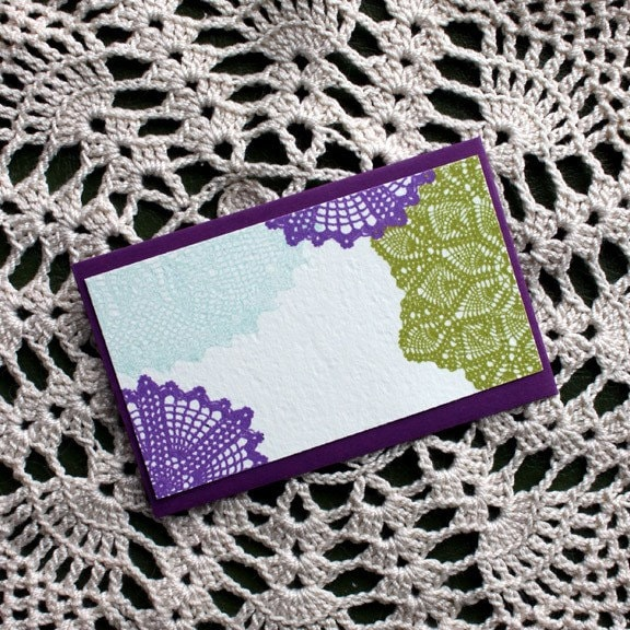Doily Enclosure Cards-Set of Five-Beet PurpleEnvelopes