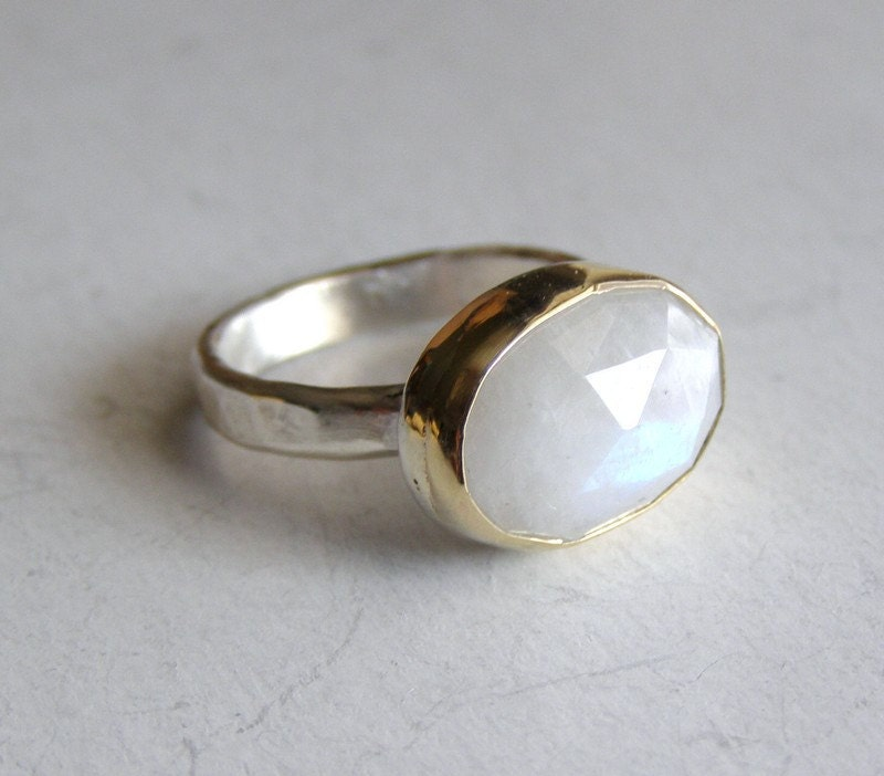 rainbow moonstone ring recycled silver sterling and by