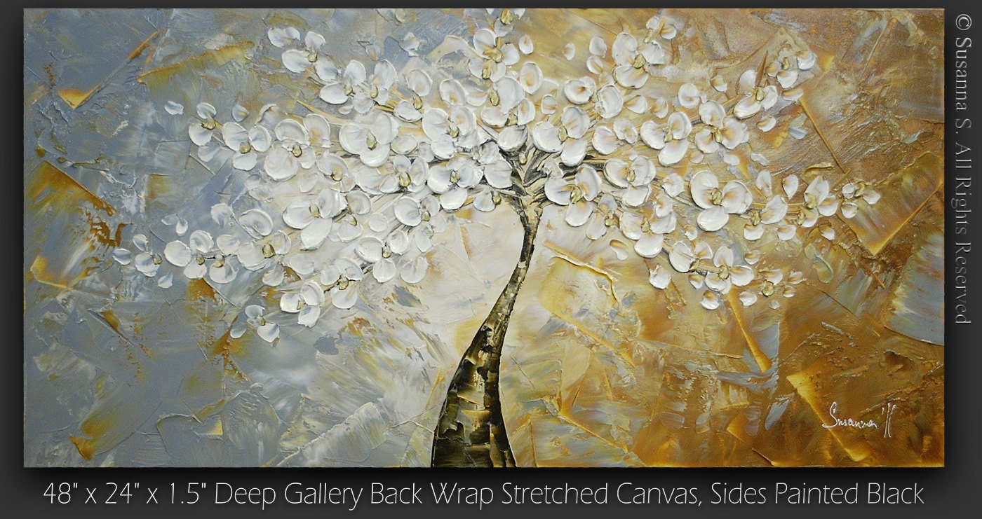 ORIGINAL Large Abstract Contemporary Fine Art Impasto Landscape White Cherry Blossom Tree Modern Palette Knife Painting by Susanna 48x24