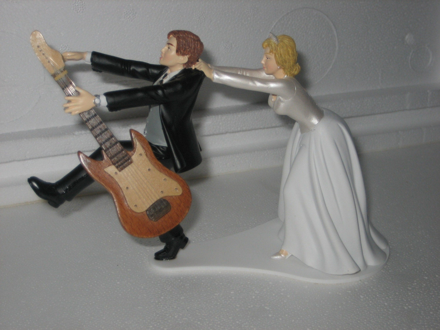 Guitar Themed Wedding Cake Topper Grooms Cake Bride By Finsnhorns