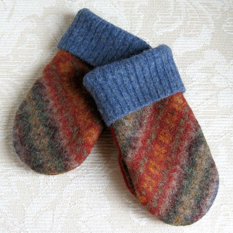 Mediterranean Blue and Paprika Mittens for Kids, Upcycled Felted Wool - FeltSewGood