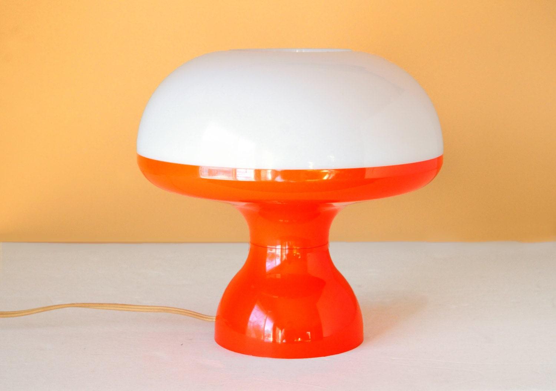 Mushroom Lamp Orange 60 S 70s Whiteretro Hippy By
