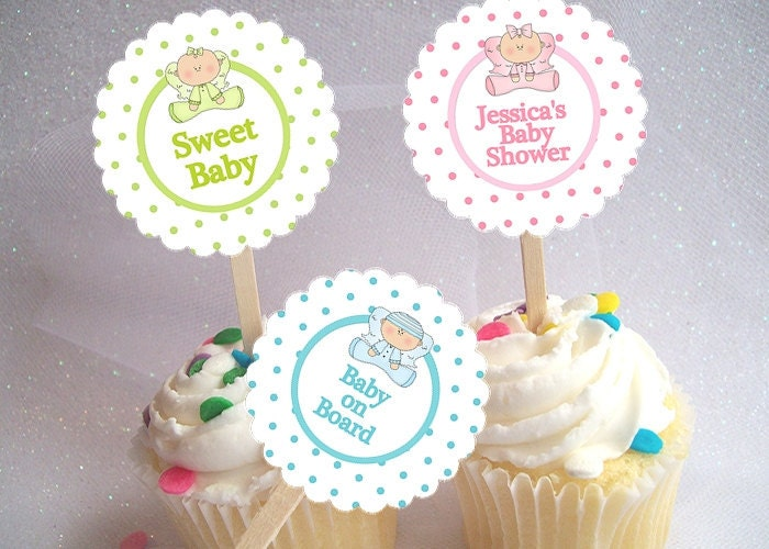 Baby Shower Cupcake Picks Decoration : Items similar to Cupcake Picks, Toppers, Baby Shower ...