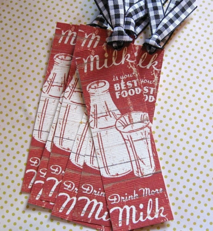 Set of 6..Drink More MILK..Vintage..Journal...Note...Cards..Shabby Chic..Hang Tag.....Birthday...