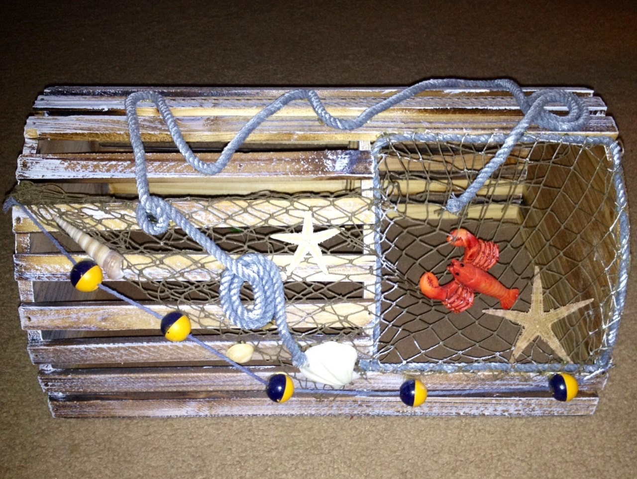 Items similar to decorative lobster trap nautical theme home decor great for fisherman on etsy - Trap decor ...