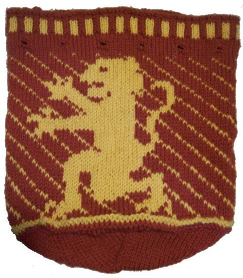 Heraldic Charted Lion Drawstring Bag Knitting Pattern A Knitters Blog