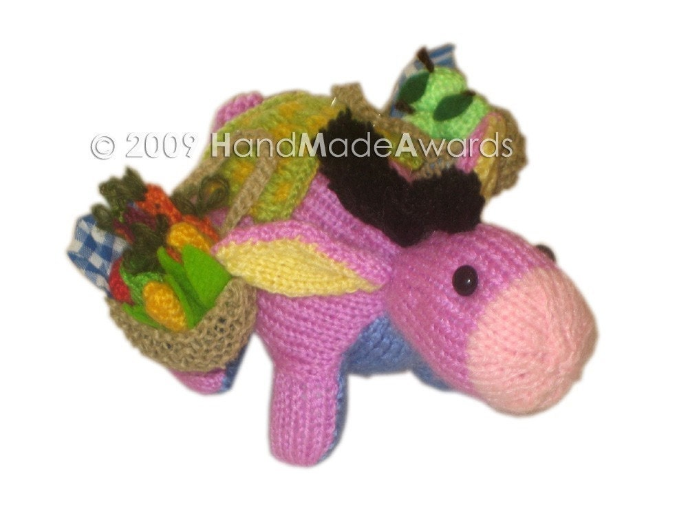 ADORABLE PEPE THE LILAC DONKEY POCKET FRIEND KNIT PATTERN pdf EMAIL by HandMadeAwards
