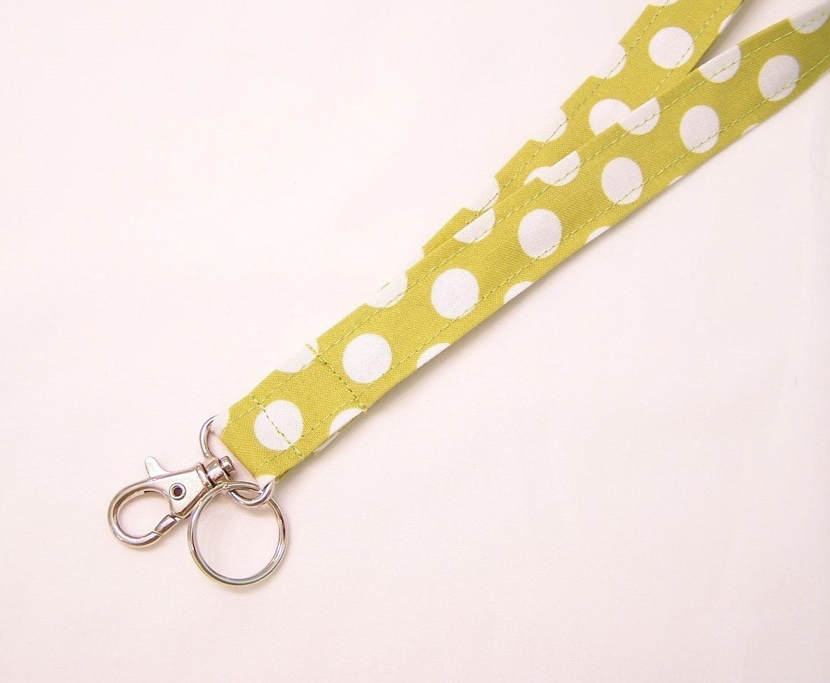 LANYARD Badge ID Key Holder ... Celery Green Polka Dot