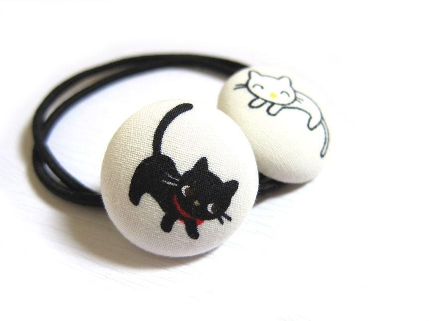 2 Ткани крытый кнопки Ponytail Держатели - Черно-белый Кисы